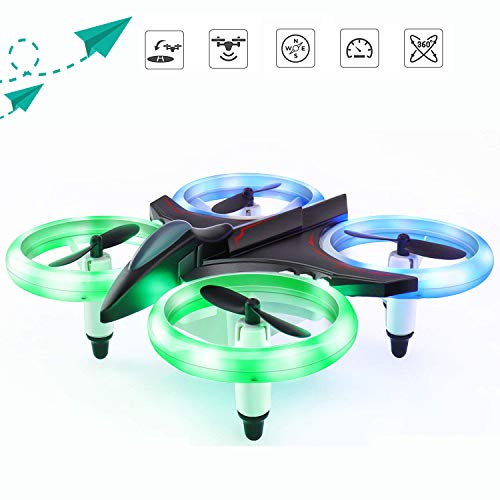 RC Drone for Kids and Beginners, MINI Drones with LED Lights RC Quadcopter Headless Mode 2.4GHz 4 Chanel 6 Axis Gyro Steady Hold Height Helicopter, Easy Fly for Training