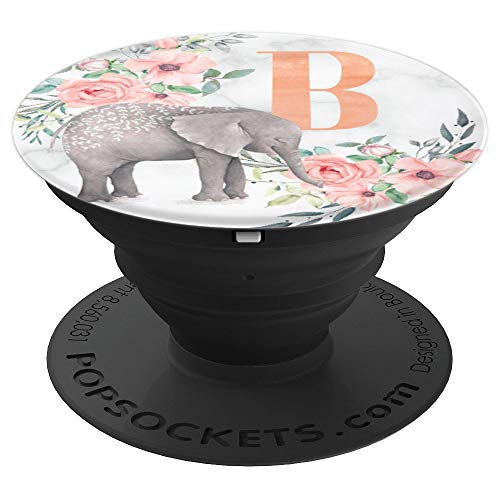 Elephant Flowers Marble Pink Monogram Name Initial Letter B - PopSockets Grip and Stand for Phones and Tablets