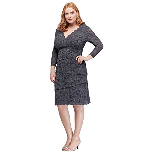 (Tiered Lace Plus Size Mother of Bride/Groom Dress with 3/4 Sleeves Style V312103, Charcoal, 18W)
