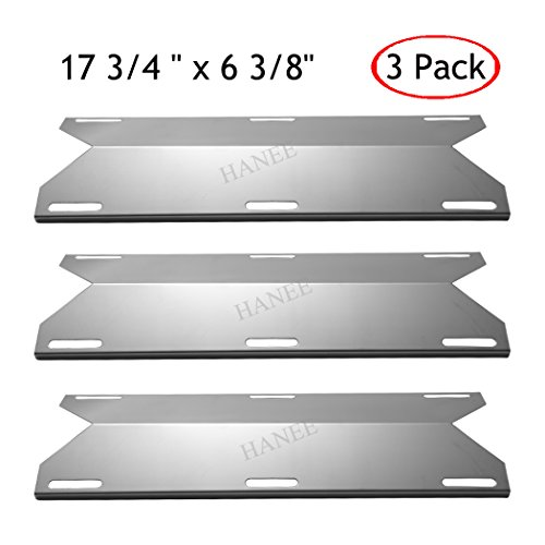 HANEE KS745 Stainless Steel Heat Plate, Gas BBQ Heat Shield, Heat Tent, Burner Cover, Grill Replacement Parts for Jenn-air, Nexgrill, Costco Kirland, Glen Canyon, 17 3/4 inch x 6 3/8 Inch, Set of 3