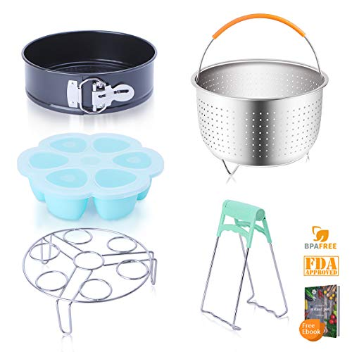 Instant Pot Accessories Set with Stainless Steel Steamer Basket, Egg Rack, Non-Stick Springfrom Pan, Silicone Egg Bites Molds, Plate Gripper, Fits Instant Pot 6,8qt Pressure Cooker, Free Recipes eBook