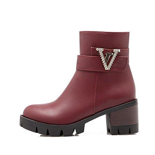 Low Claret Women's Pu Zipper Boots Heels Solid Kitten Allhqfashion Top cYBqAwZxq