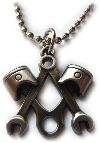 (Piston Wrench Harley Antique Nickel Motorcycle Mechanic Masonic Pendant Necklace)