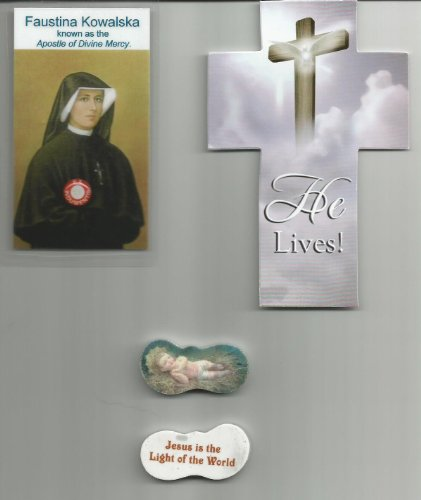 Saint Faustina Relic Holy Card with Cross Bookmark and Jesus in Manger Eraser Apostle of Divine - Apostles Divine Mercy