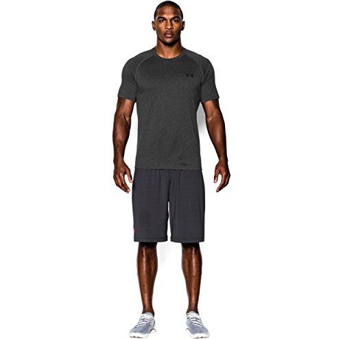 Under Armour Men's Tech S/S T-Shirt Carbon Heather / Black XL & Visor Bundle