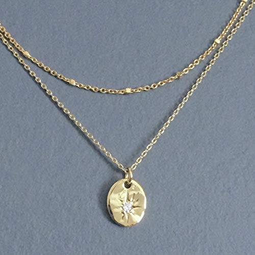 - RM JEWELRY STUDIO/pre-layered, gold plated wavy disc with cubic zirconia star, simple, small, dainty