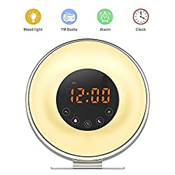 Wake Up Light, SunbaYouth Sunrise Alarm Clock Radio with 7 Color Night Light, 6 Nature Sounds, FM Radio and Touch Control for Bedside Lamp (Upgrade)