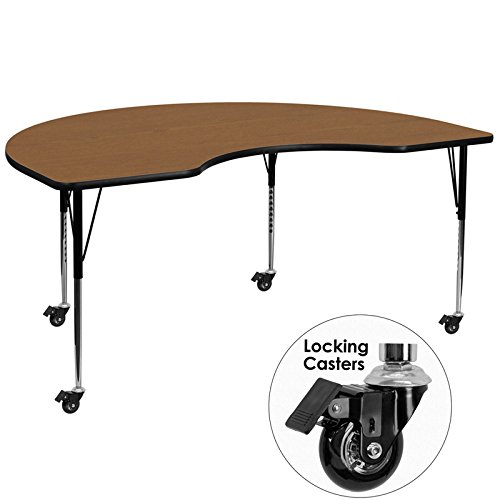 Flash Furniture Mobile 48''W x 72''L Kidney Oak Thermal Laminate Activity Table - Standard Height Adjustable (Childrens Kidney Shaped Activity Table)