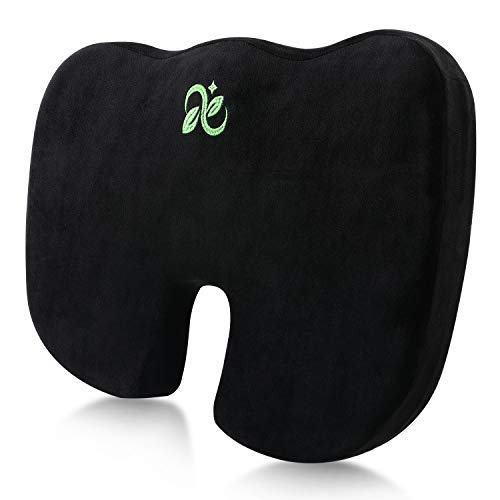 Coccyx Seat Cushion Comfort Memory Foam Seat Cushion Orthopedic Chair Pillow Back Pain Relief Sciatica Tailbone Pain Back Support Seat Cushion for Office Car Sitting Pregnancy Travel Driving. Black