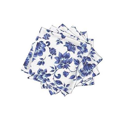 Roostery Flowers Organic Cotton Sateen Cloth Cocktail Napkins - Floral Provence Provencal Tradtitional Blue and White Willow Ware by Peacoquettedesigns (Set of 4) 10 x 10in ()