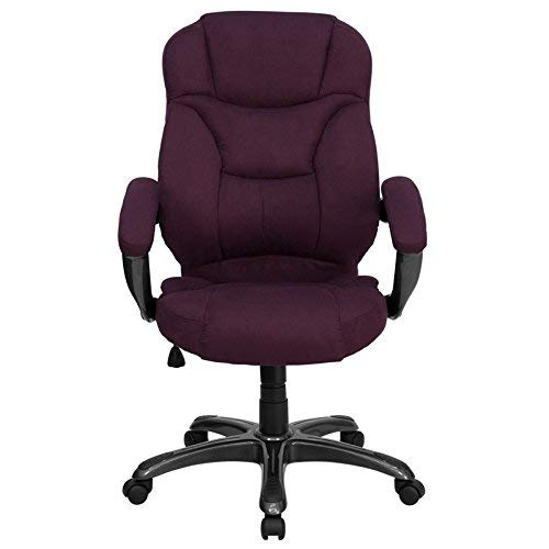 (Flash Furniture High Back Grape Microfiber Contemporary Executive Swivel Chair with Arms)