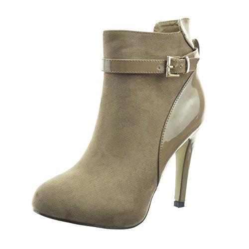 Sopily - Zapatillas de Moda Botines bimaterial Caña baja mujer Hebilla patentes Talón Tacón de aguja alto 10.5 CM - Beige