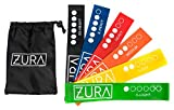 ZURA Yoga Resistance Bands for Exercise, Fitness, Set of 6 12-inch Loop Workout Bands for All Levels, with Free Bag For Sale