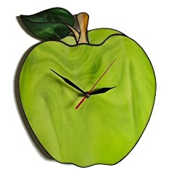 ZangerGlass Large Green Apple Wall Clock 14 by 12 inch, Decorative Stained Glass Home Decor for Kitchen or Living Room