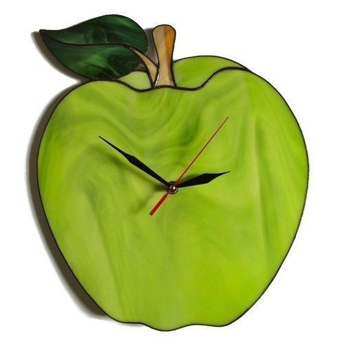ZangerGlass Large Green Apple Wall Clock 14 by 12 inch, Decorative Stained Glass Home Decor for Kitchen or Living ()