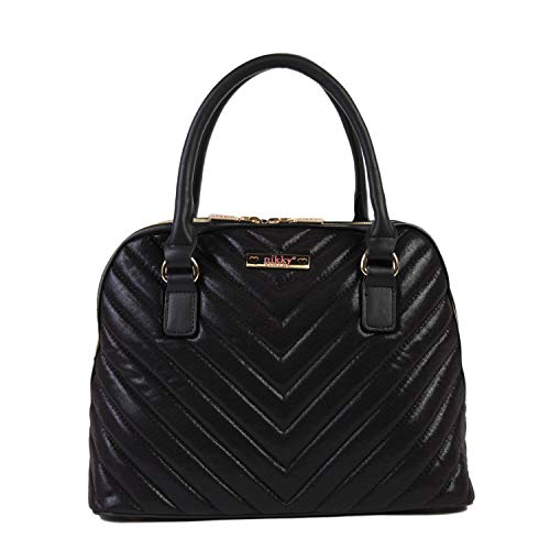 Nikky Women's Quilted Metallic Double Zip Black Satchel Bag with Shoulder Strap, One Size