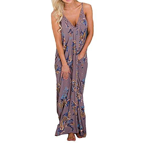 Encolure Violet Imprime Bohmienne en Maxi Sexy pour Kingwo Bretelles Femme Robe Robe V 7wXSHxEq
