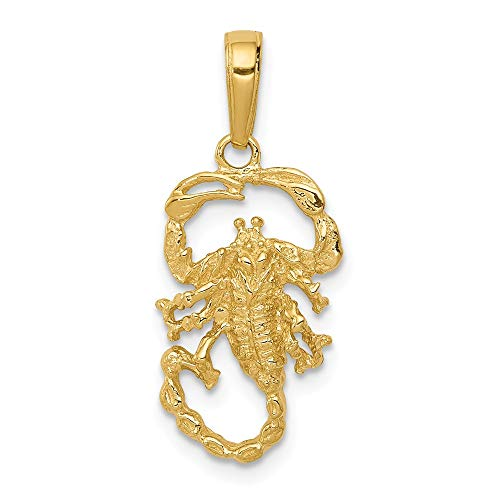 4bf0c70d4ba0c 14k Yellow Gold Scorpion Pendant Charm Necklace Zodiac Man Insect ...