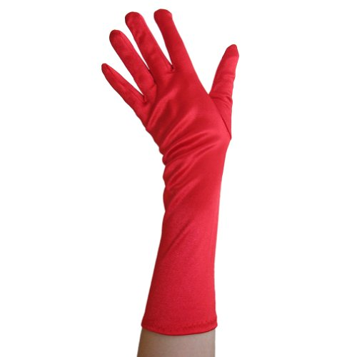 Red Satin Gloves (Elbow Length) ~ Formal, Wedding, Theatrical, Costume Party -