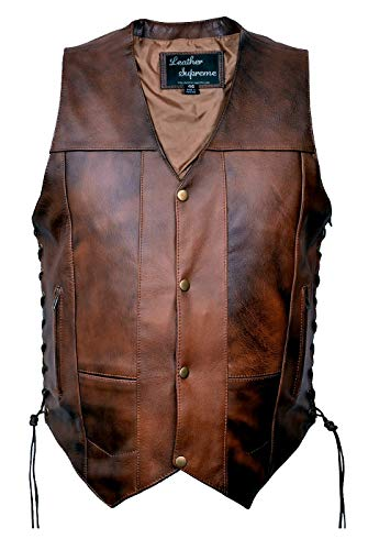- Leather Supreme Men's Ten Pocket Concealed Carry Retro Brown Buffalo Hide Leather Vest with Removable Holster-Brown-44