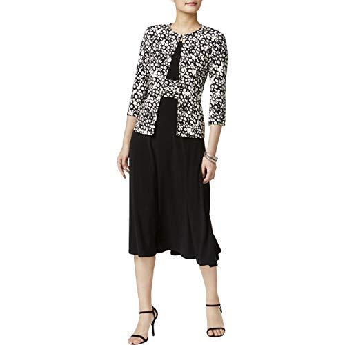 e437165a8d7c Jessica Howard Women's Petite 3/4 Sleeve Jacket Dress, Black/Ivory, 12P