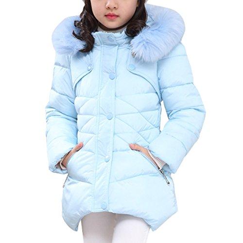 - AnKoee Kids Girls Warm Snowsuit Hooded Winter Outwear Soft Fur Hoodies Windbreaker Warm Jackets 3-12 Years Old (Blue, 160/11-12 Years)
