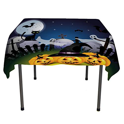 (All of better Halloween Checkered Tablecloth Funny Cartoon Design with Pumpkins Witches Hat Ghosts Graveyard Full Moon Cat Multicolor Easter twble Cloth Spring/Summer/Party/Picnic 60 by)