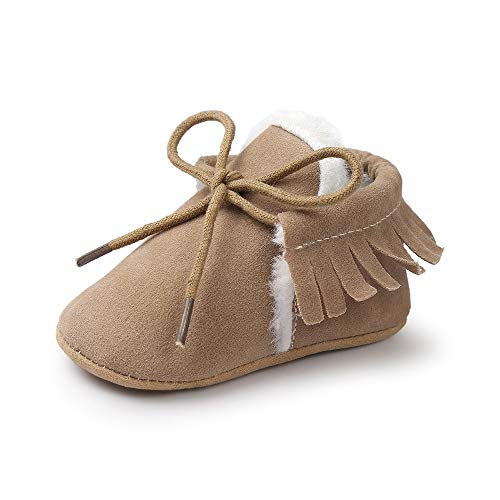 Wollanlily Infant Baby Girls Boys Lace Up Sneakers Slip-On Moccasins Fur Soft Soled Anti-Slip Slippers Toddlers Crib Shoes