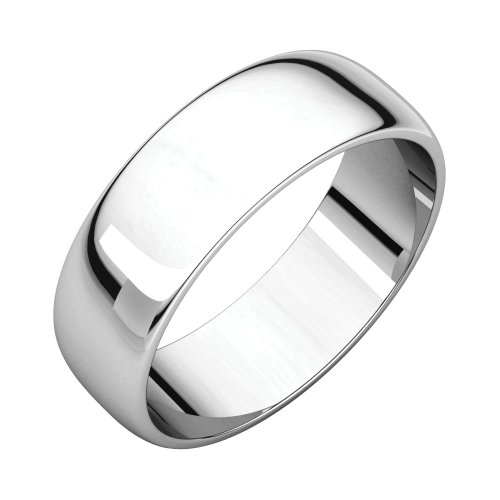Jewels By Lux 18k White Gold 6mm Half Round Light Wedding Ring Band