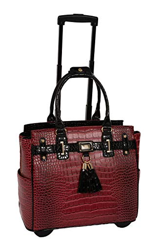JKM and Company THE WESTLAKE Burgundy Red & Black Alligator Compatible With Computer iPad, Laptop Tablet Rolling Tote Bag Briefcase Carryall Bag ()
