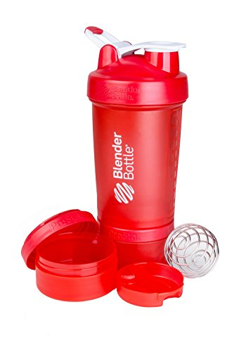 BlenderBottle ProStak System with 22-Ounce Bottle and Twist n' Lock Storage, Red/Red (All Mixer One Blender In)