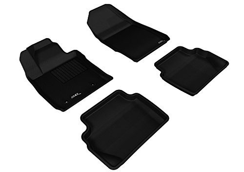 3D MAXpider All 2 Row Custom Fit Floor Mat for Select Ford Fiesta Hatchback Models - Kagu Rubber (Black)