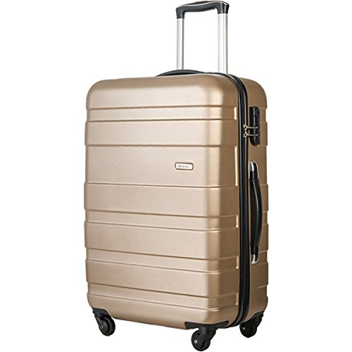 Merax Afuture 20 24 28 inch Luggage Lightweight Spinner Suitcase (24-Checking in, Gold.)