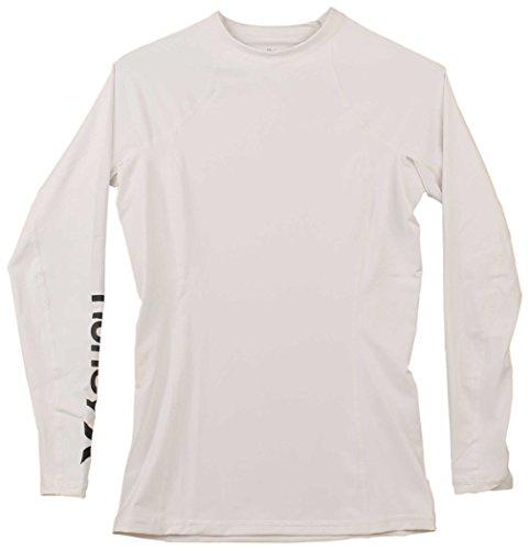 Hurley Junior's Sun Shirt Rashguard SPF 50+ Protection, White//Black, S (Rash Guard Spf 50)