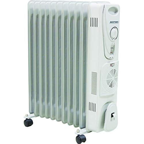 chollos oferta descuentos barato MPM MUG 14 Radiador de Aceite Portátil con Turbo Fan y Termo 2700 W 0 Decibeles Blanco