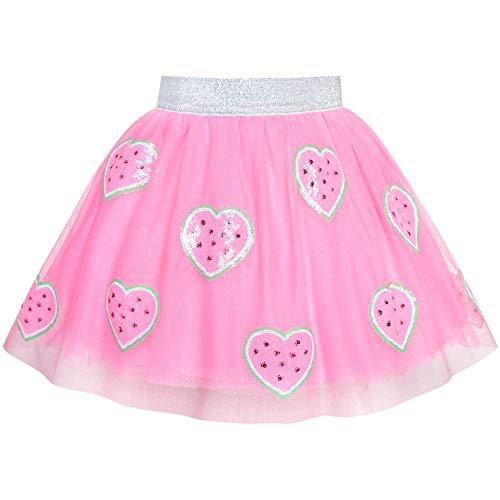 - Sunny Fashion Girls Skirt Pink Heart Sequins Sparkling Tutu Dancing Size 2-3