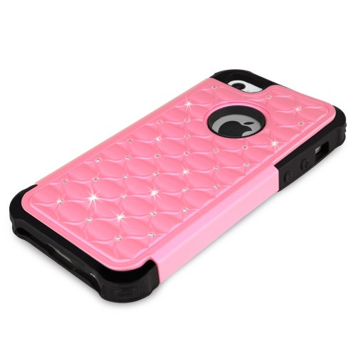Coque Iphone se, BoxWave® [sparkleshimmer Étui avec chargeur Porte-clés Bonus] strass paillette pour W/Bumper antichocs pour Apple iPhone se, 5S, 5–Princesse Rose
