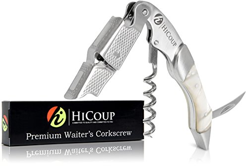 Stainless Steel Winged Corkscrew - Waiters Corkscrew by HiCoup -Professional Stainless Steel with Moonstone Resin Inlay All-in-one Corkscrew, Bottle Opener and Foil Cutter, the Favoured Wine Opener of Sommeliers, Waiters and Bartenders