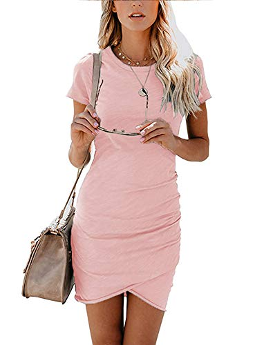 Women's Short Sleeve Bodycon Dresses - Sexy Ruched Tulip Hem Sheath Mini Dresses Medium Pink (Pink Dress Tulip)