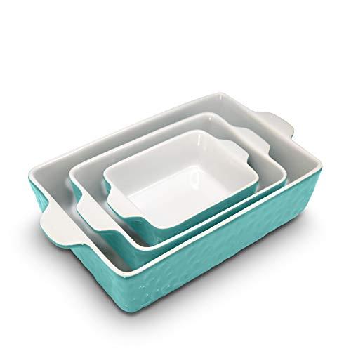 NutriChef 3Pcs. Nonstick Bakeware PFOA PFOS PTFE Tray Set w/Odor-Free Ceramic, 446°F Oven Microwave/Dishwasher Safe…