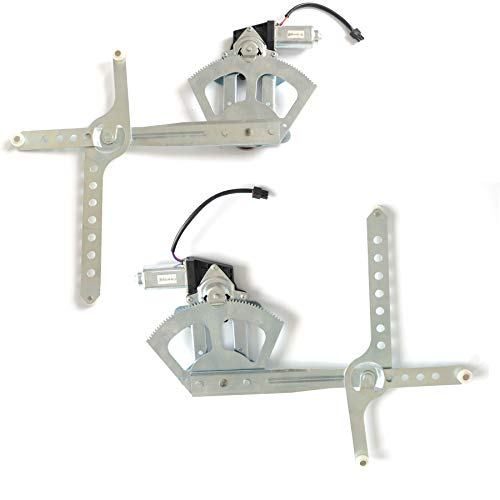 (VioletLisa 2pcs Front Driver (Left) + Passenger (Right) Side New Aftermarket Replacement Power Window Regulator with Motor Assembly For Chevrolet GMC Cadillac)