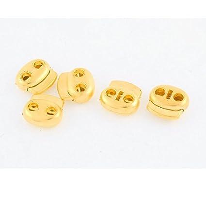 eDealMax Doble agujeros del cordón del tono Lock Stopper Alterna Primavera Sujetador 5 piezas de oro