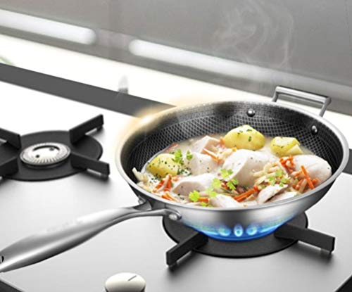 WYQSZ Wok-stainless Steel Non-stick Wok Flat-bottom No Fumes Uncoated Pot Home Cooking Multi-function Wok -fry pan 2365 (Design : A, Size : 349cm) by WYQSZ (Image #2)