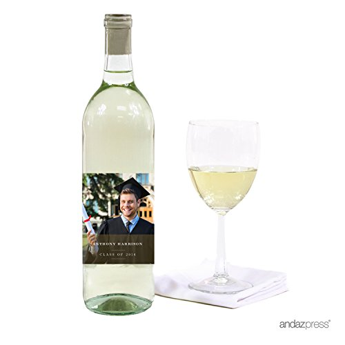 Andaz Press Photo Personalized Ivy League Graduation Collection, Wine Bottle Labels, 20-Pack, Custom Image