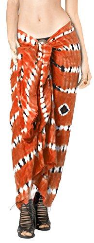 Arancione La Da Dye Bikini h930 Coprire Involucro Sarong Costume Gonna Womens Della Pareo Spiaggia Leela Bagno Tie rqWZwprfRx