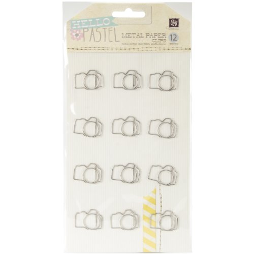 (Prima Marketing Hello Pastel Shaped Metal Paper Clips, Cameras, 12-Pack)