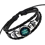 kajaop Retro 12 Constellation Beaded Hand Woven Leather Bracelet PUNK Chain Cuff