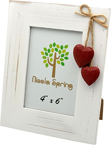 Nicola Spring White Wooden Picture Photo Frame with Red Hearts - 4 x 6