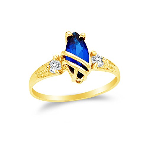 Marquise Created Moissanite Ring (Size - 6 - 14k Yellow Gold Highest Quality CZ Cubic Zirconia Fancy Fashion Marquise Ring)