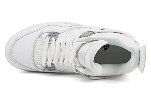Nike Air Jordan Männer 4 Retro Basketballschuh Weiß / Metallic Silber-aus Weiß
